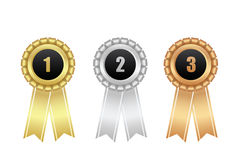Award ribbons. Gold, silver, bronze. Royalty Free Stock Photography