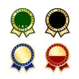 Award ribbons isolated set. Gold design medal, label, badge, certificate. Symbol best sale, price, quality, guarantee or. Success, achievement. Golden ribbon Stock Image