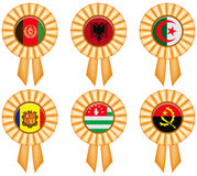 Award ribbons with national flags Stock Photo