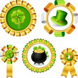 Award ribbons with Saint Patrick's day objects Stock Photo