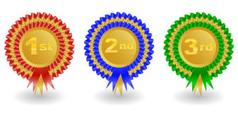 Award ribbons set. Illustration of 1st, 2nd and 3rd place colorful award ribbons Royalty Free Stock Images
