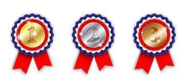 Award ribbons, 1st, 2nd and 3rd place Stock Photography