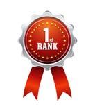 Award Ribbons. On white Background 1st rank Stock Photo