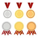 Award rosette gold. Silver and bronze with ribbons and rossetes. Winner hampion medals label. Vector illustration Stock Images