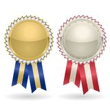 Award rosette gold and silver Royalty Free Stock Image