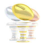Award rugby sport trophy cup. Award american football or rugby sport trophy composition of golden, silver and bronze cups isolated over white background Stock Photo