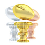 Award rugby sport trophy cup. Award american football or rugby sport trophy composition of golden, silver and bronze cups isolated over white background Royalty Free Stock Images
