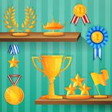 Award shelves background Stock Photos
