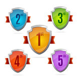 Award Shield Set with Numbers. Vector Royalty Free Stock Photo