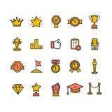 Award Signs Color Thin Line Icon Set. Vector. Award and Respect Signs Color Thin Line Icon Set Include of Trophy, Star, Medal, Cup and Prize. Vector illustration Stock Photos