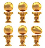 Award sport trophy cup set isolated Stock Photo