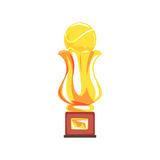 Award tennis sport golden trophy cup cartoon vector Illustration. On a white background Stock Image