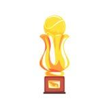Award tennis sport golden trophy cup cartoon vector Illustration Stock Image