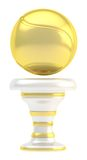 Award tennis sport trophy cup. Award tennis ball sport golden trophy cup isolated over white background Royalty Free Stock Image