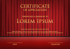 Award theme certificate card with red curtain background template Stock Photography