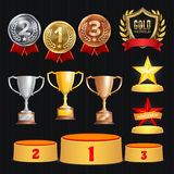 Award Trophies Vector Set. Achievement For 1st, 2nd, 3rd Place Ranks. Ceremony Placement Podium. Golden, Silver, Bronze. Achievement. Championship Stars. Laurel vector illustration
