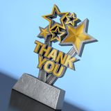 Award Trophy with Golden Thank You Sign. 3d Rendering. Award Trophy with Golden Thank You Sign on a blue background. 3d Rendering royalty free stock photography