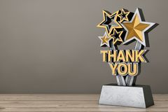 Award Trophy with Golden Thank You Sign. 3d Rendering royalty free illustration