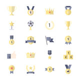 Award and Trophy Icon, Ribbon Best Set Of Winner Sport Abstract Vector Color Icon Style Flat Icons Royalty Free Stock Photography