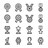 Award And Trophy Icons. Outline Icons Of Award And Trophy Stock Image