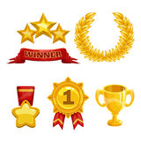 Award and trophy icons set. Golden elements Royalty Free Stock Photos