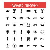 Award, trophy illustration, thin line icons, linear flat signs, vector symbols. Award, trophy illustration, thin line icons, linear flat signs, outline Royalty Free Stock Photography
