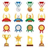 Award Trophy Medal Realistic Set. Sport trophies festival awards collection with gold silver bronze medals and football championship cup isolated vector Royalty Free Stock Images