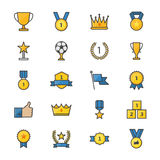 Award and Trophy Ribbon Best Set Of Winner Sport Abstract Vector Color Icon Style Colorful Flat Icons Stock Image