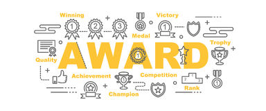 Award vector banner. Design concept, flat style with thin line art icons on white background stock illustration