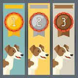 Award vertical banners with dog winning medal.  Royalty Free Stock Photos
