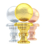 Award volleyball sport trophy cup. Award volleyball sport trophy composition of golden, silver and bronze cups isolated over white background Stock Image