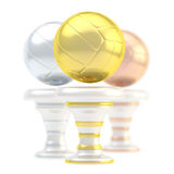 Award volleyball sport trophy cup. Award volleyball sport trophy composition of golden, silver and bronze cups  over white background Stock Photography