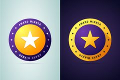 Award winner medal. Round stamp in two color variants for first place winners,  competition winners and others. Vector illustration with star shape for print Stock Images