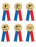 Award or winner ribbons. A series of award ribbons for first through fifth place and honorable mention Stock Photos