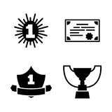 Award winner. Simple Related Vector Icons. Set for Video, Mobile Apps, Web Sites, Print Projects and Your Design. Black Flat Illustration on White Background Stock Image