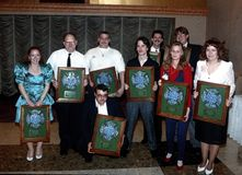 Award winners  of Bladensburg Volunteer Fire Department. Members of Bladensburg Volunteer Fire Departmwnt who wereaward winners pose with their awards at their stock images