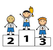 Award winners. Cartoon men stand on the podium winners. Children were awarded medals and cups Royalty Free Stock Image