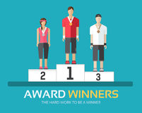 Award winners in flat design background concept. Rewarding athletes on the podium. Icons for your product or. Award winners in flat design background concept Stock Photos