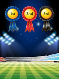Award winning tags and football field. Illustration Royalty Free Stock Images