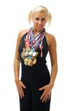 Awarded athlete with their medals. Stock Photos