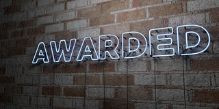 AWARDED - Glowing Neon Sign on stonework wall - 3D rendered royalty free stock illustration. Can be used for online banner ads and direct mailers stock illustration