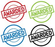 AWARDED text, on round simple stamp sign. AWARDED text, on round simple stamp sign, in color set vector illustration