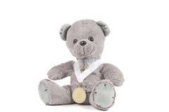 Awarded Winner Teddy Bear. First place winner teddy bear on White Background Stock Images