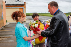 Awarding the best workers of the agricultural industry in the Gomel region of the Republic of Belarus. Annually in Belarus summed up the results of work in stock photography