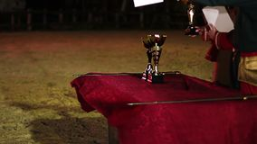 Awarding ceremony at martial arts tournament, winners receiving cups and prizes. Stock footage stock video footage