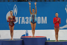 Awarding of winners. Of the International Tournament in Rhythmic Gymnastics Grand Prix Cup champions Gazprom in Moscow, Russia stock photography