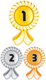 Awards. Golden, silver and bronze awards Stock Photo
