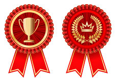 Awards. Golden-red award labels on white Royalty Free Stock Images