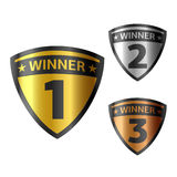Awards. Vector illustration of gold, silver and bronze winners shields stock illustration