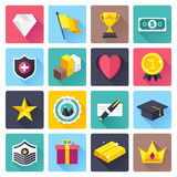 Awards and Achievements Flat Icon Set. Flat style with long shadows, awards and achievements vector illustrations icons set Royalty Free Stock Photo